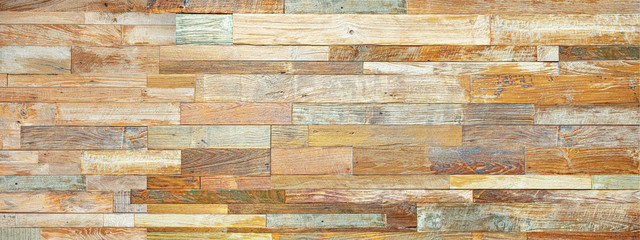 Fototapeta 味わいのある質感の寄木細工の壁 obraz