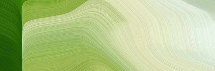modern banner with tea green, forest green and moderate green colors. dynamic curved lines with fluid flowing waves and curves