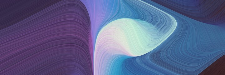 Poster Fractal waves flowing designed horizontal banner with dark slate blue, light gray and sky blue colors. dynamic curved lines with fluid flowing waves and curves