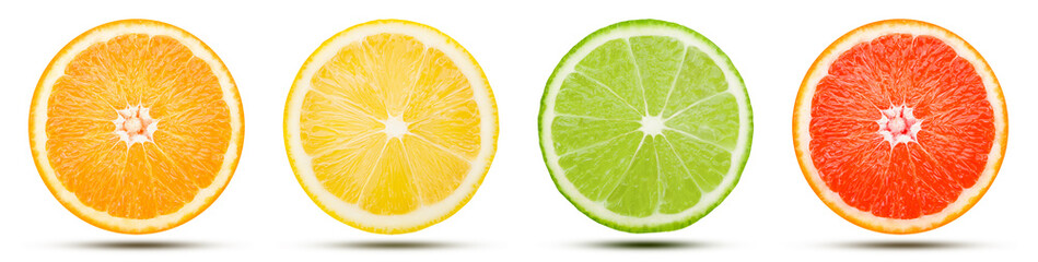 The collection of citrus fruit slice is cut into a sphere. Orange, Lemon, Lime, and Pink grapefruit with drop shadow isolated on white background. Commercial image with clipping path. Fotomurales