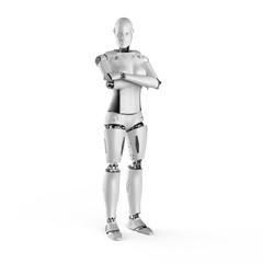 Female cyborg arm crossed
