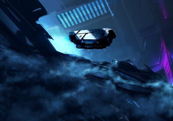 Spaceship flying over abstract futuristic Cityscape - digital painting - Science Fiction concept