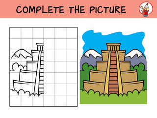 Complete the picture of a mayan pyramid. Copy the picture. Coloring book. Educational game for children. Cartoon vector illustration