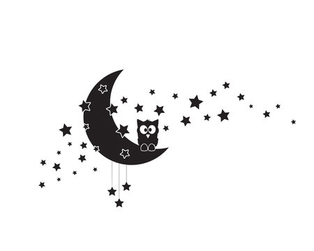 Owl silhouette on moon, vector. Moon with stars, illustration. Wall art design, wall artwork, wall decals isolated on white background. Wall decoration