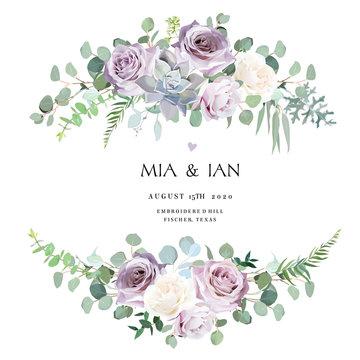 Dusty violet lavender,creamy and mauve antique rose, purple pale flowers