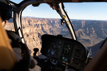 Foto op Canvas Helicopter Helicopter ride grand canyon epic view above dashboard