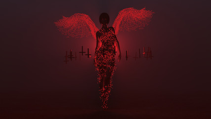 Black Seductive Devil Vampire with Wings Formed out of Small Red Spheres and Upside Down Floating Crosses Abstract Demon in a Foggy Void 3d illustration 3d render
