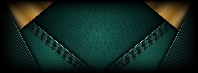 Fototapeta abstract luxury dark green overlap layer with golden line obraz