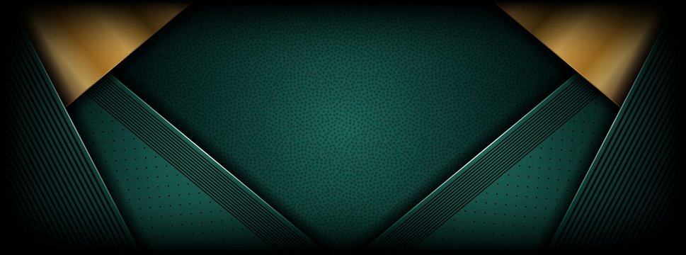 abstract luxury dark green overlap layer with golden line