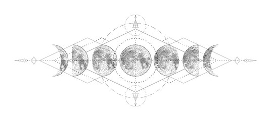 Magic moon with sacred geometry tattoo design. Monochrome hand drawn vector illustration, isolated on white background Fototapete