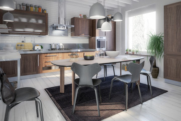Kitchen Area with Dining Room Integration - 3d visualization