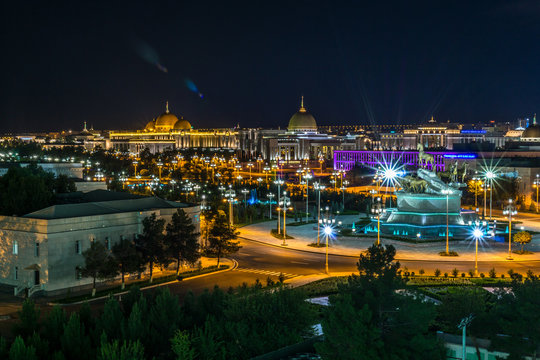 Night view of the presidential palace (Oguzhan) in Ashgabat Turkmenistan