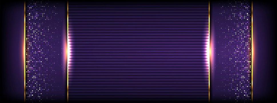 abstract luxurious textured dark purple background with golden line