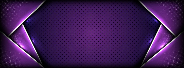 Obraz abstract premium dark purple with silver overlay layers background - fototapety do salonu