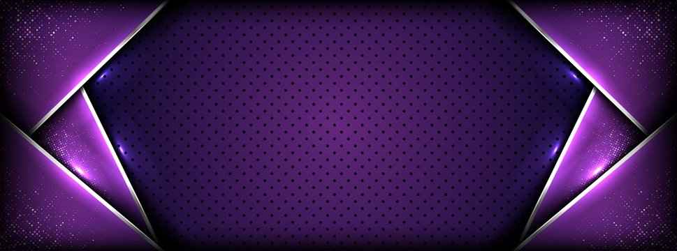 abstract premium dark purple with silver overlay layers background