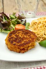 Fototapete - pané frit et spaghetti dans une assiette