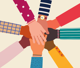 Hands of diverse group of people together. Concept of support and cooperation, friendship, volunteering charity.