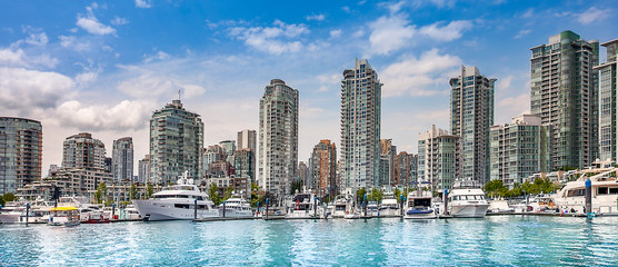 The Vancouver British Columbia Canada skyline taken from False Creek