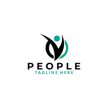 fit people logo icon vector isolated