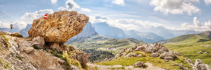 Fotobehang Alpen View to the southeast from the trail around Sassolungo / Sasso Piatto, looking down to the Sella Pass in the Dolomite Alps, South Tyrol, Italy