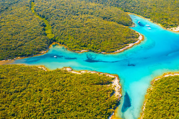 Wall Mural - Incredible view of the blue lagoon on sunny day. Location place Kvarner Gulf, Cres island, Croatia, Europe.
