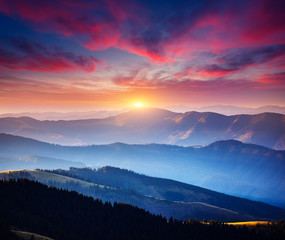 Wall Mural - Incredible landscape in the mountains at sunset.