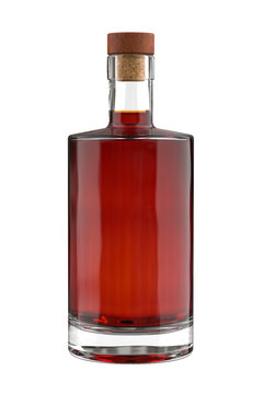 Bottle for Rum, Cognac, Brandy, Liquor, Gin, Whiskey, Scotch, Tincture or other Drinks Isolated on White Background. Realistic 3D render.