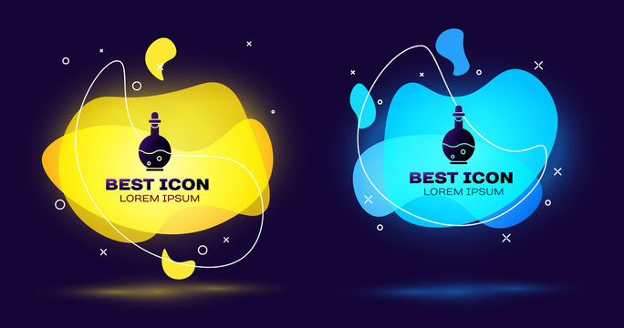 Black Glass bottle with magic elixir icon isolated on blue background. Computer game asset. Set abstract banner with liquid shapes. Vector Illustration