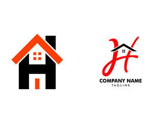 Set of Initial Letter H with House Logo