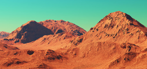 In de dag Baksteen Mars landscape, 3d render of imaginary mars planet terrain, science fiction illustration.