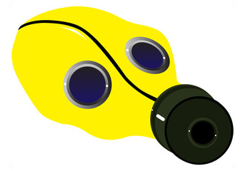 Yellow Gas mask drawing. Vector illustration isolated