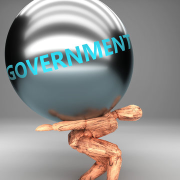 Government as a burden and weight on shoulders - symbolized by word Government on a steel ball to show negative aspect of Government, 3d illustration