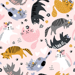 Seamless childish pattern with cute girl cats . Creative kids hand drawn texture for fabric, wrapping, textile, wallpaper, apparel. Vector illustration