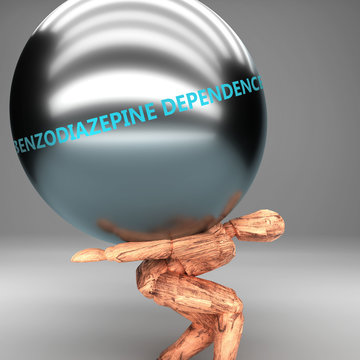 Benzodiazepine dependence as a burden and weight on shoulders - symbolized by word Benzodiazepine dependence on a steel ball to show negative aspect of Benzodiazepine dependence, 3d illustration
