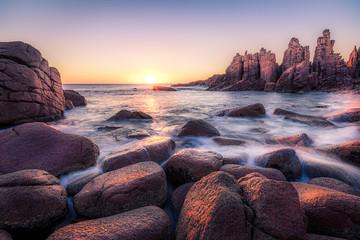 Printed kitchen splashbacks Purple Morning view of the Pinnacles at Cape Woolamai, Australia