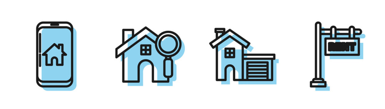 Set line House, Mobile phone with smart home, Search house and Hanging sign with text Rent icon. Vector
