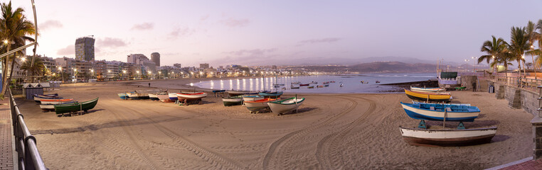 Poster Canary Islands Panoramic views of the sunrise on Las Canteras beach in Las Palmas de Gran Canaria, canary islands, Spain. .Canary and beach holidays concept.