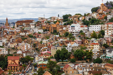 View of old town of Antananarivo with colourful houses, Madagascar