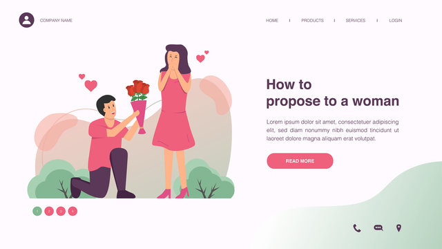 Man makes marriage propose to girlfriend with rose bouquet. Web page design with lifestyle or wedding concept for website and mobile website development. Flat vector illustration.