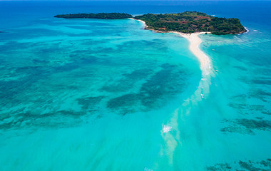 Aerial view of Sandy Tongue in Turquoise Waters of Nosy Iranja, Madagascar