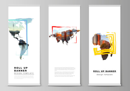 Vector layout of roll up mockup template for vertical flyers, flags design templates, banner stands, advertising design. Design template in the form of world maps and colored frames, insert your photo
