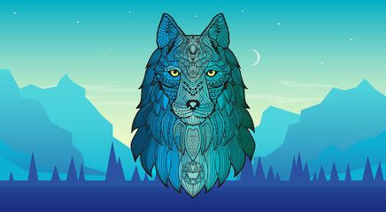 Patterned head of a wolf, coyote, dog against the backdrop of mountains, forests. Series of animals in the ethnic style. Stylized colorful wolf portrait on background. Wall mural