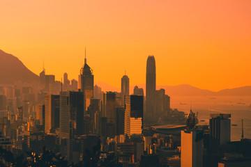 Sunset sky over city skyline of HongKong / Hong Kong Island Fotomurales