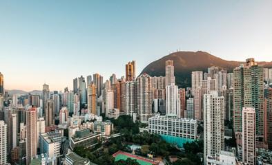 Photo sur Aluminium Hong-Kong city skyline, skyscraper buildings of Hong Kong Island