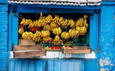 Traditional fruit shop with bananas at Lalana Ramboatiana in Antananarivo, Madagascar