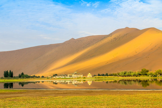 Badain Jaran Desert, desert, Inner Mongolia,  the third  largest desert in China, with the tallest stationary dunes on Earth and100 spring-fed lakes between the dunes