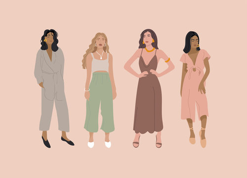 Vector illustration fashion girl in modern outfit. Concept of beauty and mental, femininity.