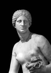 Black and white photo showing closeup of face and torso of classical female roman statue