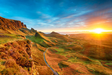 Wall Mural - Magical sunrise over the Quiraing on the Isle of Skye