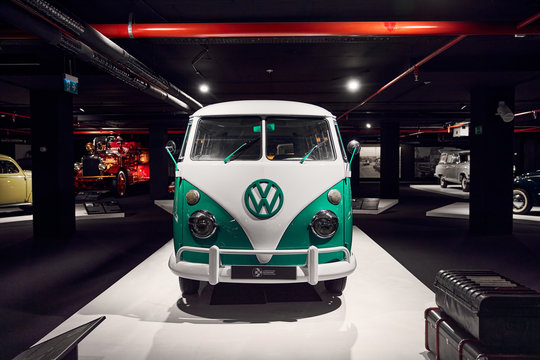 Classic Volkswagen T1. One of the first civilian minivans. popular with hippies..Retro car. Classic Car exhibition - Heydar Aliyev Center, Baku, Azerbaijan 26,04,2017